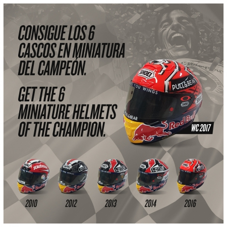 6c61be675be31 GET THE MINIATURE HELMETS OF THE 6 WORLD CHAMPIONSHIPS OF MARC MÁRQUEZ!